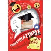 BIGLIETTO AUGURALE LAUREA 11,7X17 CONGRATULAZIONI GLITTER KARTOS