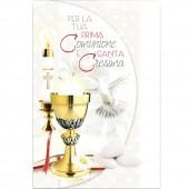 BIGLIETTO AUGURALE COMUNIONE + CRESIMA 11,5X17 FUSTELLATO GLITTER CROMO