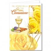 BIGLIETTO AUGURALE COMUNIONE 11,5X17 CROMO
