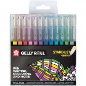 PENNA SFERA GEL GELLY ROLL STARDUST GLITTER SET 12 COLORI SAKURA